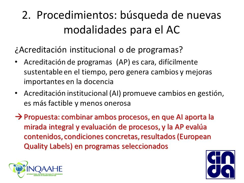 2. Procedimientos: búsqueda de nuevas modalidades para el AC ¿Acreditación institucional o de programas? Acreditación de programas (AP) es cara, difíc
