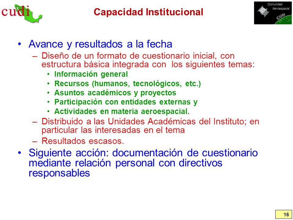 Capacidad Institucional Avance y resultados a la fecha –Diseño de un formato de cuestionario inicial, con estructura básica integrada con los siguient