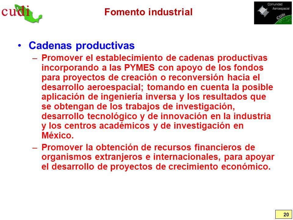 Fomento industrial Cadenas productivas –Promover el establecimiento de cadenas productivas incorporando a las PYMES con apoyo de los fondos para proye