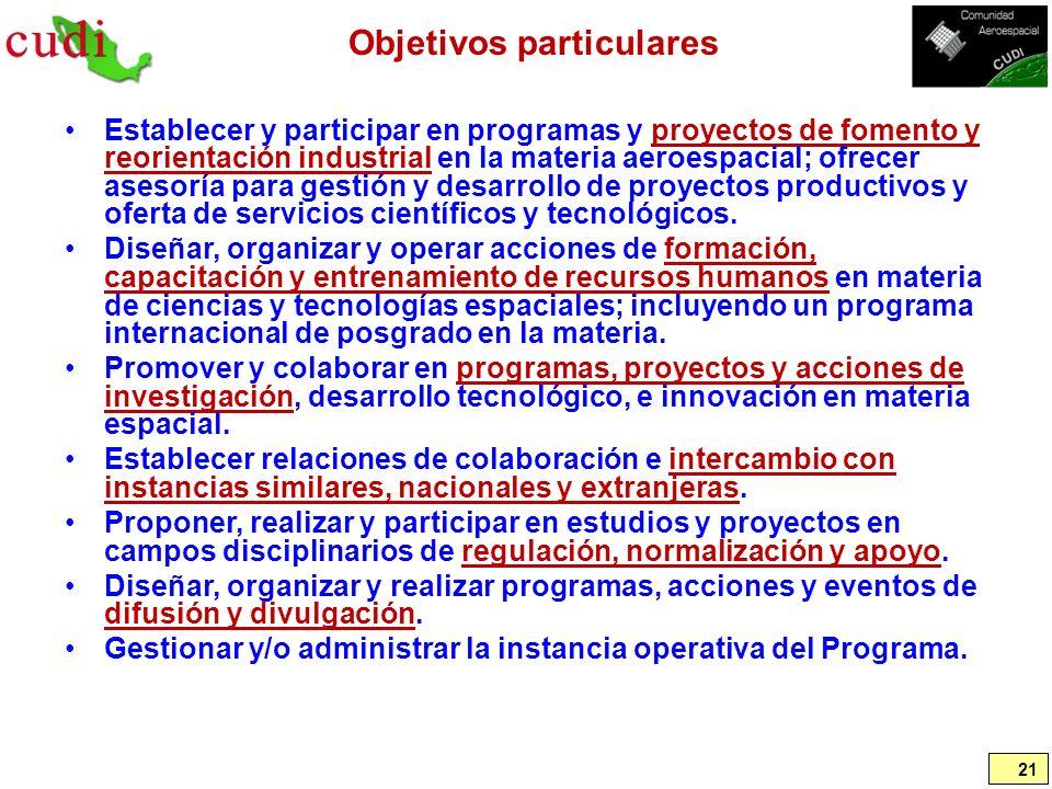 Objetivos particulares Establecer y participar en programas y proyectos de fomento y reorientación industrial en la materia aeroespacial; ofrecer ases