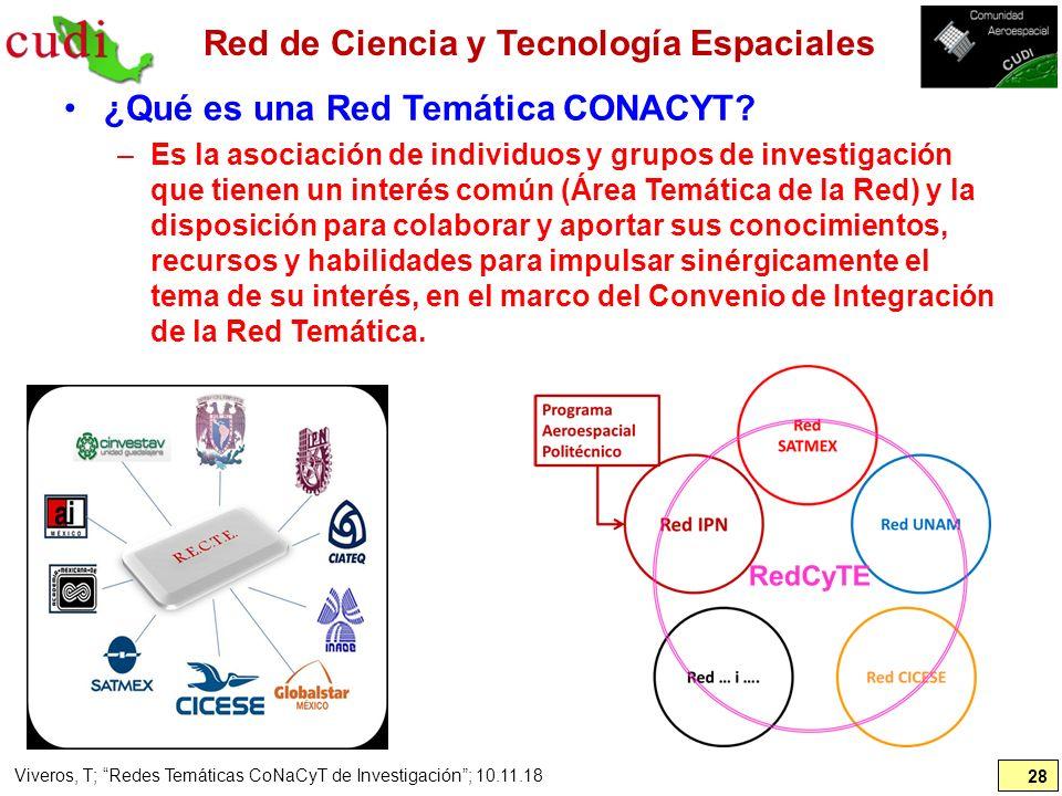 Red de Ciencia y Tecnología Espaciales ¿Qué es una Red Temática CONACYT? –Es la asociación de individuos y grupos de investigación que tienen un inter