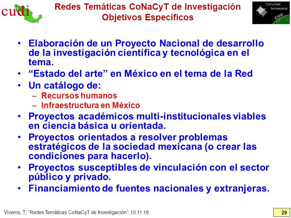 Redes Temáticas CoNaCyT de Investigación Objetivos Específicos Elaboración de un Proyecto Nacional de desarrollo de la investigación científica y tecn