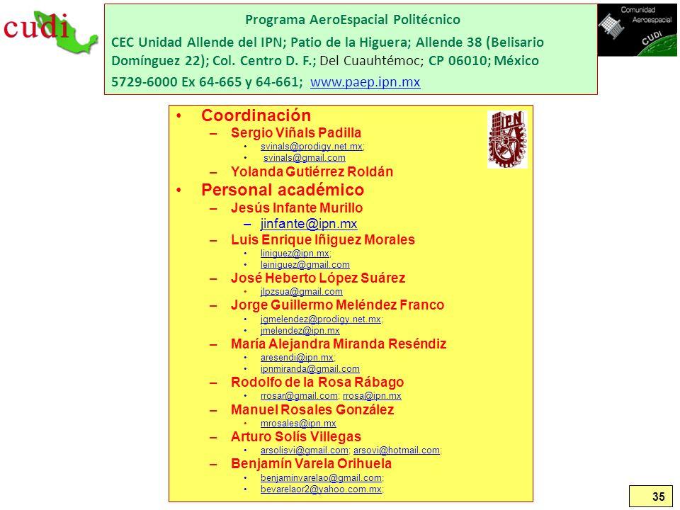 35 Programa AeroEspacial Politécnico CEC Unidad Allende del IPN; Patio de la Higuera; Allende 38 (Belisario Domínguez 22); Col. Centro D. F.; Del Cuau