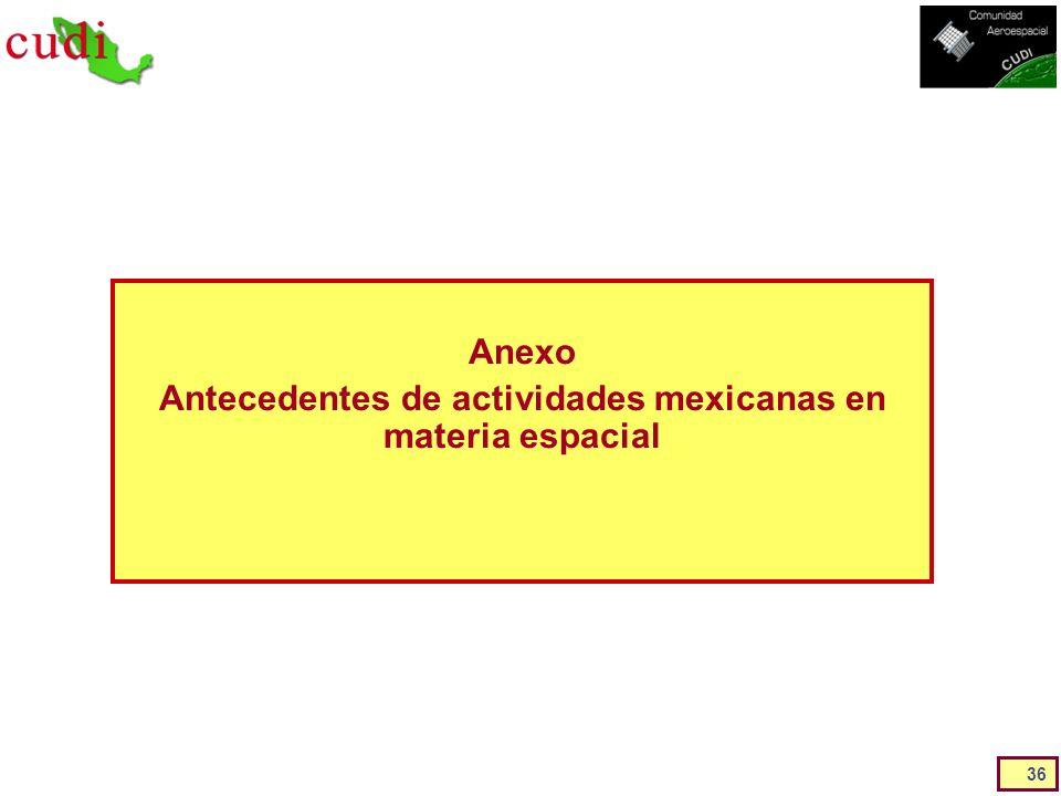 Anexo Antecedentes de actividades mexicanas en materia espacial 36