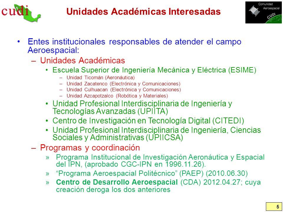 Unidades Académicas Interesadas Entes institucionales responsables de atender el campo Aeroespacial: –Unidades Académicas Escuela Superior de Ingenier