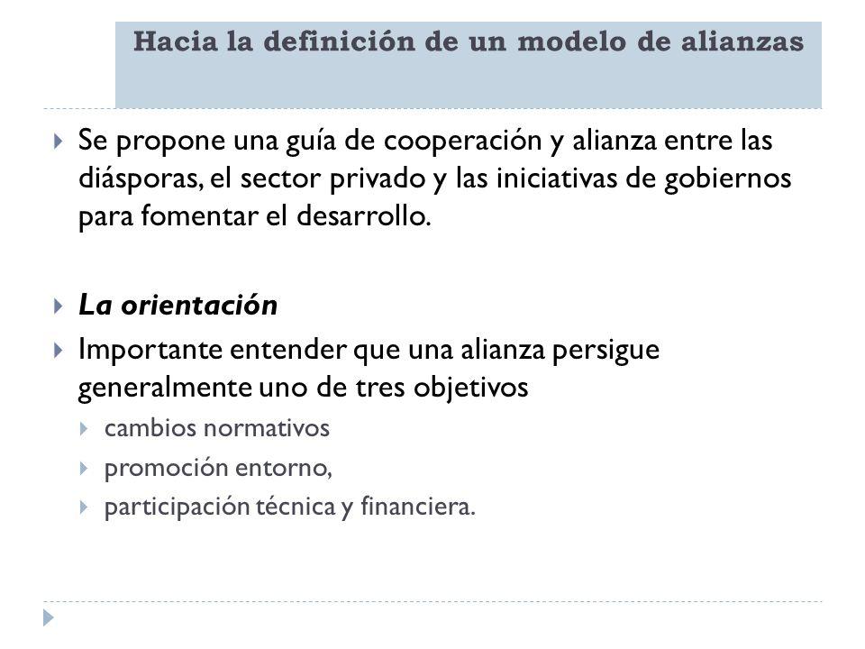 Hacia la definición de un modelo de alianzas Se propone una guía de cooperación y alianza entre las diásporas, el sector privado y las iniciativas de