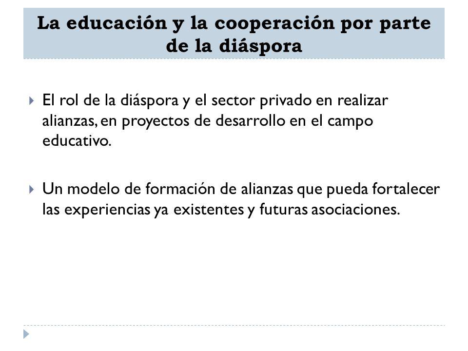 La educación y la cooperación por parte de la diáspora El rol de la diáspora y el sector privado en realizar alianzas, en proyectos de desarrollo en e