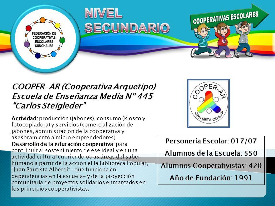 COOPER-AR (Cooperativa Arquetipo) Escuela de Enseñanza Media Nº 445 Carlos Steigleder Actividad: Actividad: producción (jabones), consumo (kiosco y fo