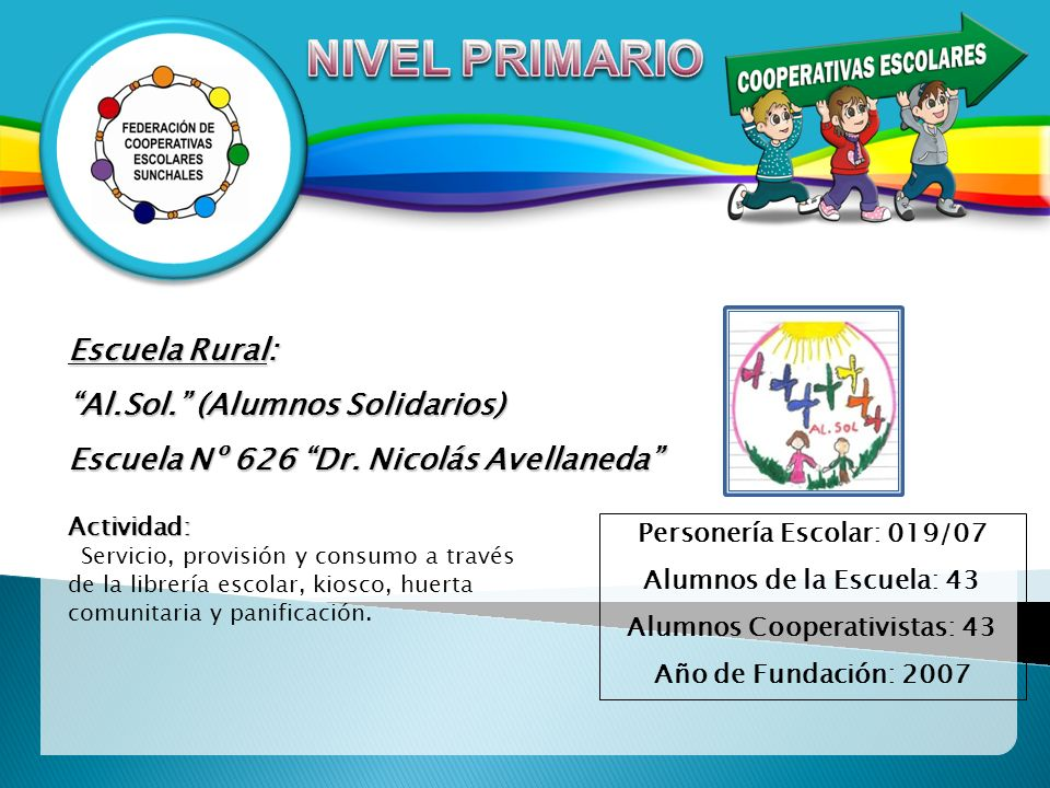 Escuela Rural: Al.Sol. (Alumnos Solidarios) Escuela Nº 626 Dr. Nicolás Avellaneda Actividad: Servicio, provisión y consumo a través de la librería esc