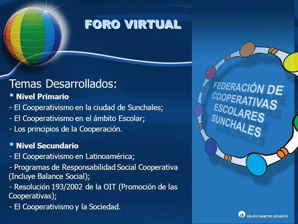 FORO VIRTUAL Temas Desarrollados: * Nivel Primario - El Cooperativismo en la ciudad de Sunchales; - El Cooperativismo en el ámbito Escolar; - Los prin