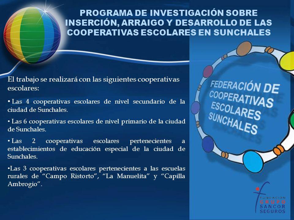 El trabajo se realizará con las siguientes cooperativas escolares: Las 4 cooperativas escolares de nivel secundario de la ciudad de Sunchales. Las 6 c