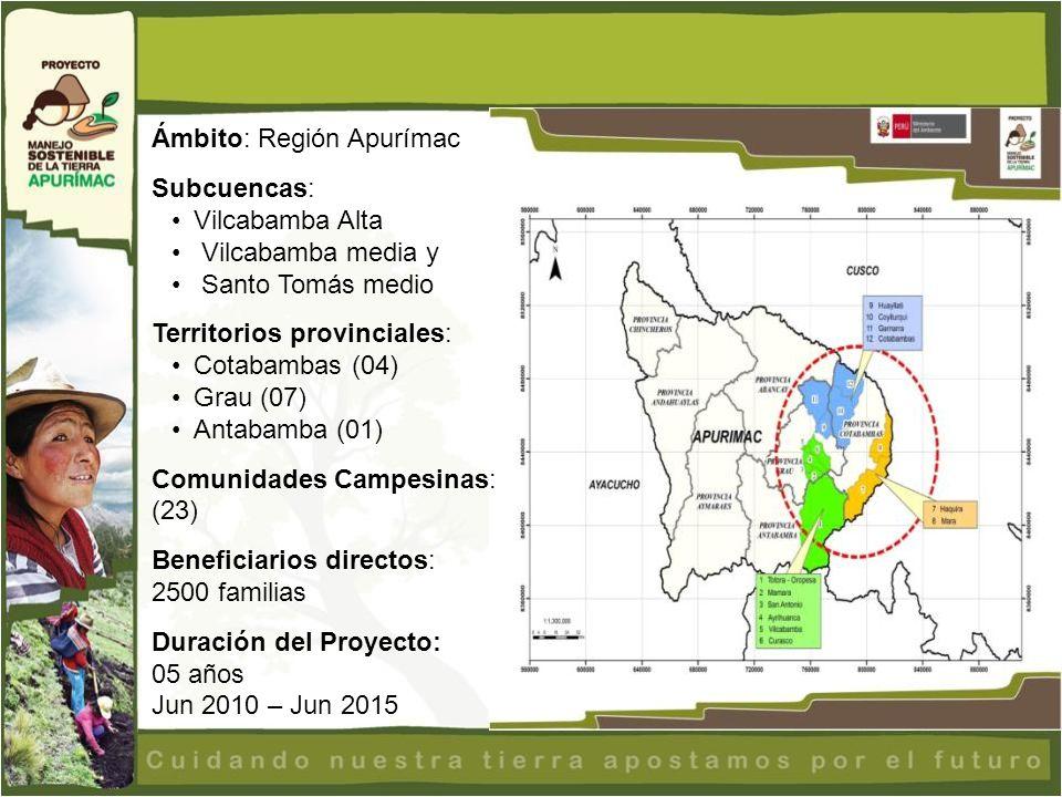 Ámbito: Región Apurímac Subcuencas: Vilcabamba Alta Vilcabamba media y Santo Tomás medio Territorios provinciales: Cotabambas (04) Grau (07) Antabamba