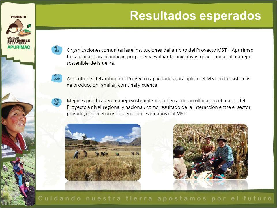 Organizaciones comunitarias e instituciones del ámbito del Proyecto MST – Apurímac fortalecidas para planificar, proponer y evaluar las iniciativas re