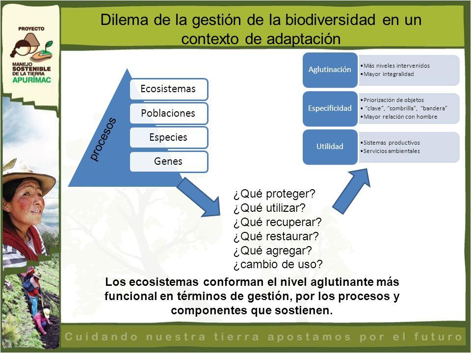 Dilema de la gestión de la biodiversidad en un contexto de adaptación procesos ¿Qué proteger? ¿Qué utilizar? ¿Qué recuperar? ¿Qué restaurar? ¿Qué agre