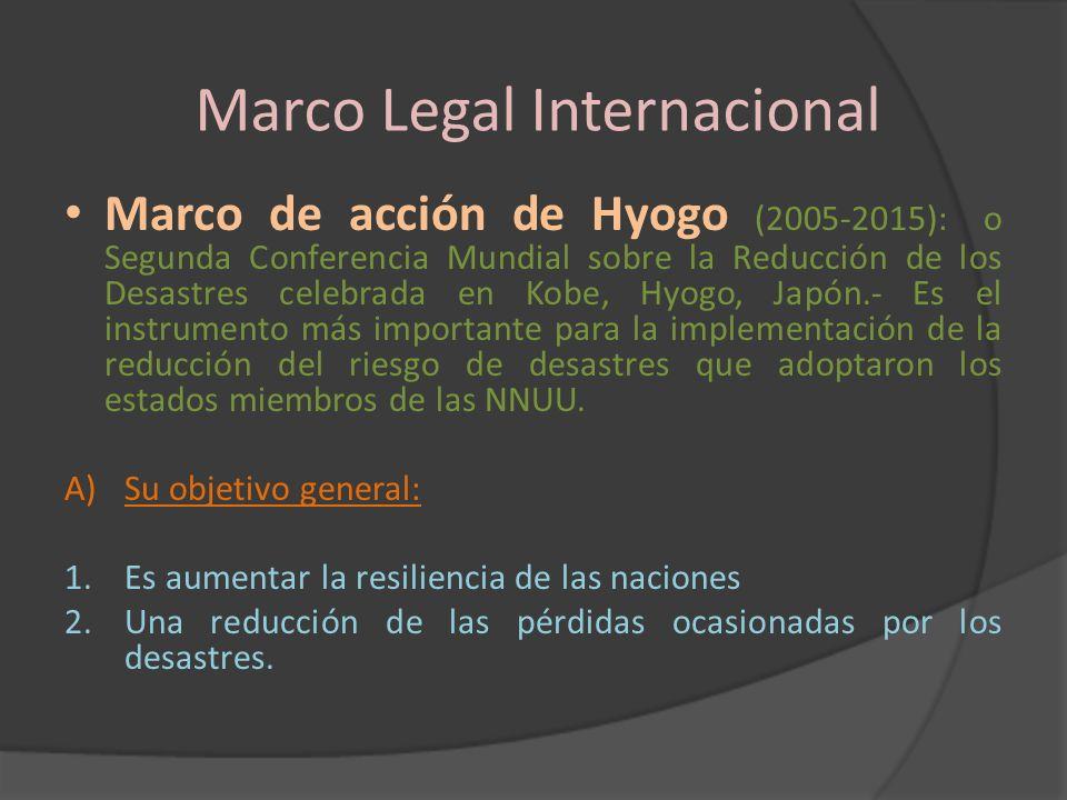 Marco Legal Internacional Marco de acción de Hyogo (2005-2015): o Segunda Conferencia Mundial sobre la Reducción de los Desastres celebrada en Kobe, H