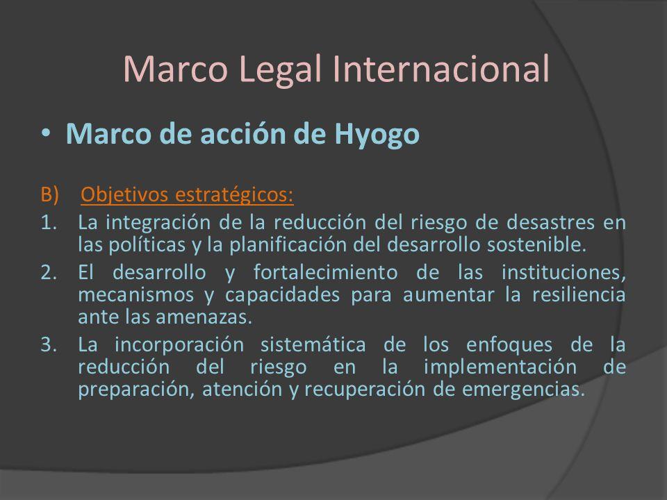 Marco Legal Internacional Marco de acción de Hyogo B) Objetivos estratégicos: 1.La integración de la reducción del riesgo de desastres en las política