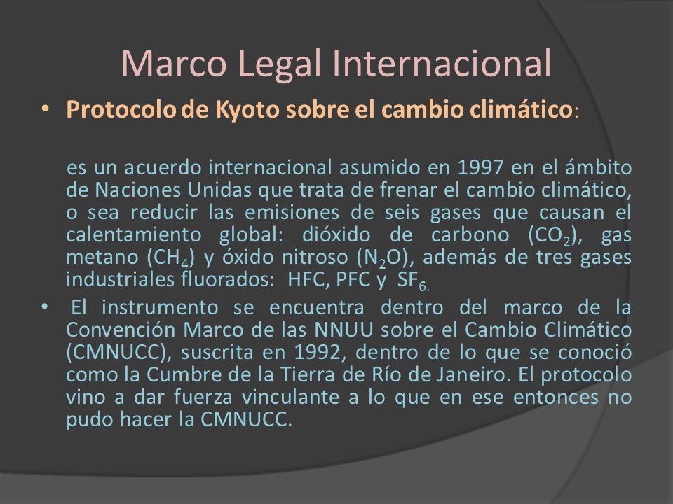 Marco Legal Internacional Protocolo de Kyoto sobre el cambio climático : es un acuerdo internacional asumido en 1997 en el ámbito de Naciones Unidas q