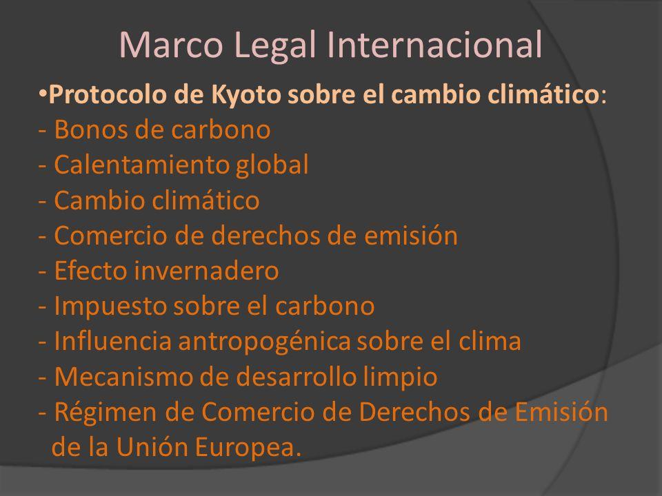 Marco Legal Internacional Protocolo de Kyoto sobre el cambio climático: - Bonos de carbono - Calentamiento global - Cambio climático - Comercio de der