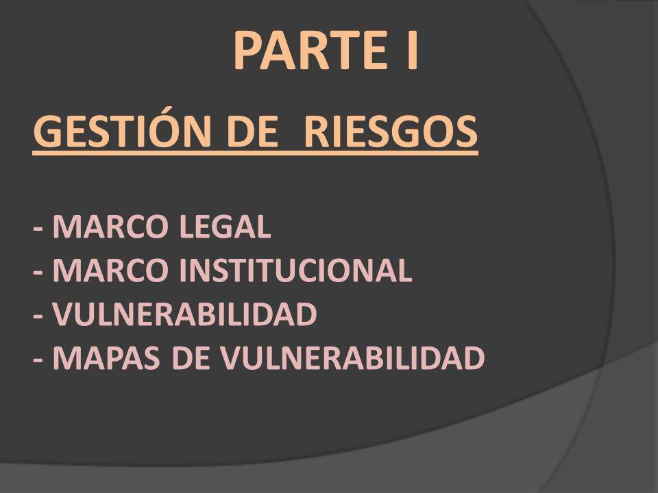 Marco Legal Internacional Marco de acción de Hyogo C) Áreas prioritarias: 1.Lograr que la reducción del riesgo de desastres sea una prioridad.