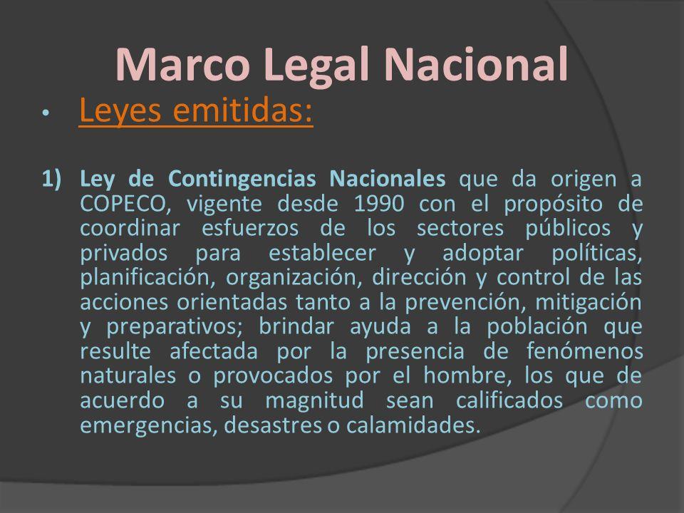 Marco Legal Nacional Leyes emitidas: 1)Ley de Contingencias Nacionales que da origen a COPECO, vigente desde 1990 con el propósito de coordinar esfuer