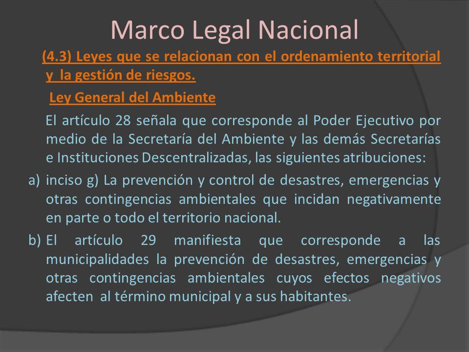 Marco Legal Nacional (4.3) Leyes que se relacionan con el ordenamiento territorial y la gestión de riesgos. Ley General del Ambiente El artículo 28 se