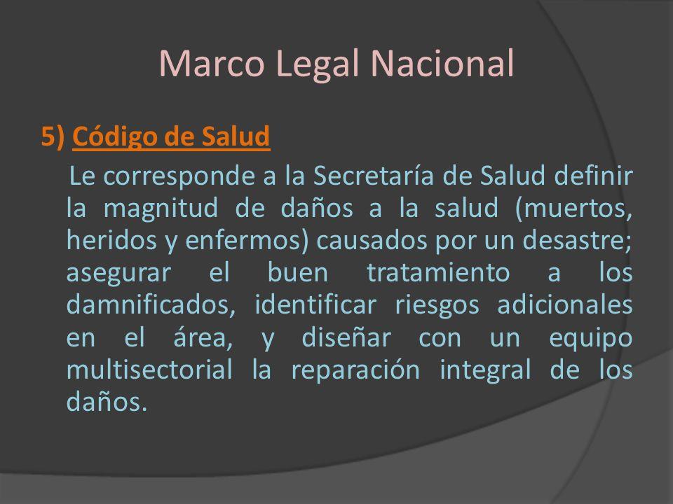 Marco Legal Nacional 5) Código de Salud Le corresponde a la Secretaría de Salud definir la magnitud de daños a la salud (muertos, heridos y enfermos)