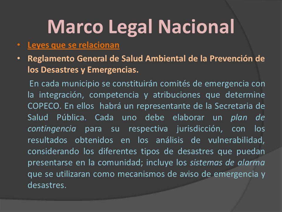 Marco Legal Nacional Leyes que se relacionan Reglamento General de Salud Ambiental de la Prevención de los Desastres y Emergencias. En cada municipio