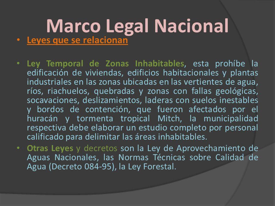 Marco Legal Nacional Leyes que se relacionan Ley Temporal de Zonas Inhabitables, esta prohíbe la edificación de viviendas, edificios habitacionales y