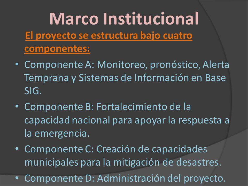 Marco Institucional El proyecto se estructura bajo cuatro componentes: Componente A: Monitoreo, pronóstico, Alerta Temprana y Sistemas de Información