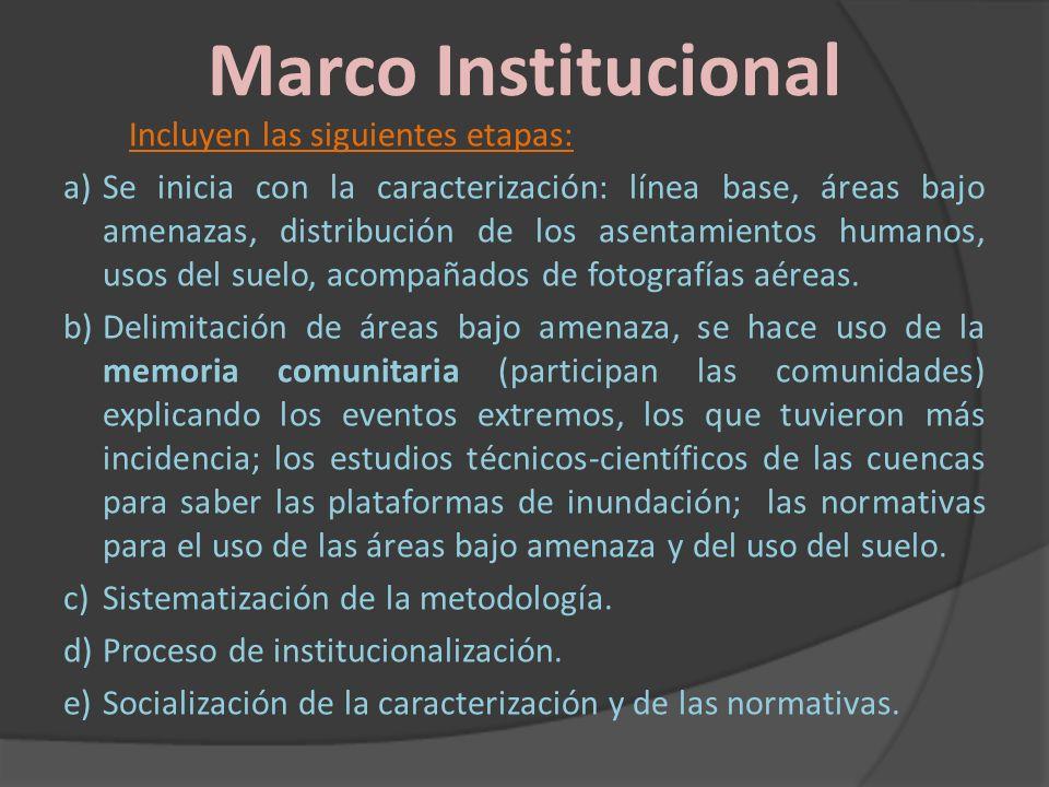 Marco Institucional Incluyen las siguientes etapas: a)Se inicia con la caracterización: línea base, áreas bajo amenazas, distribución de los asentamie