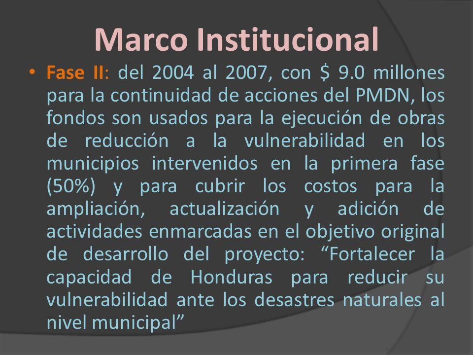 Marco Institucional Fase II: del 2004 al 2007, con $ 9.0 millones para la continuidad de acciones del PMDN, los fondos son usados para la ejecución de