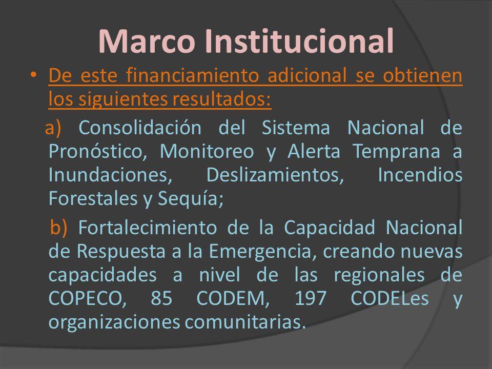 Marco Institucional De este financiamiento adicional se obtienen los siguientes resultados: a) Consolidación del Sistema Nacional de Pronóstico, Monit