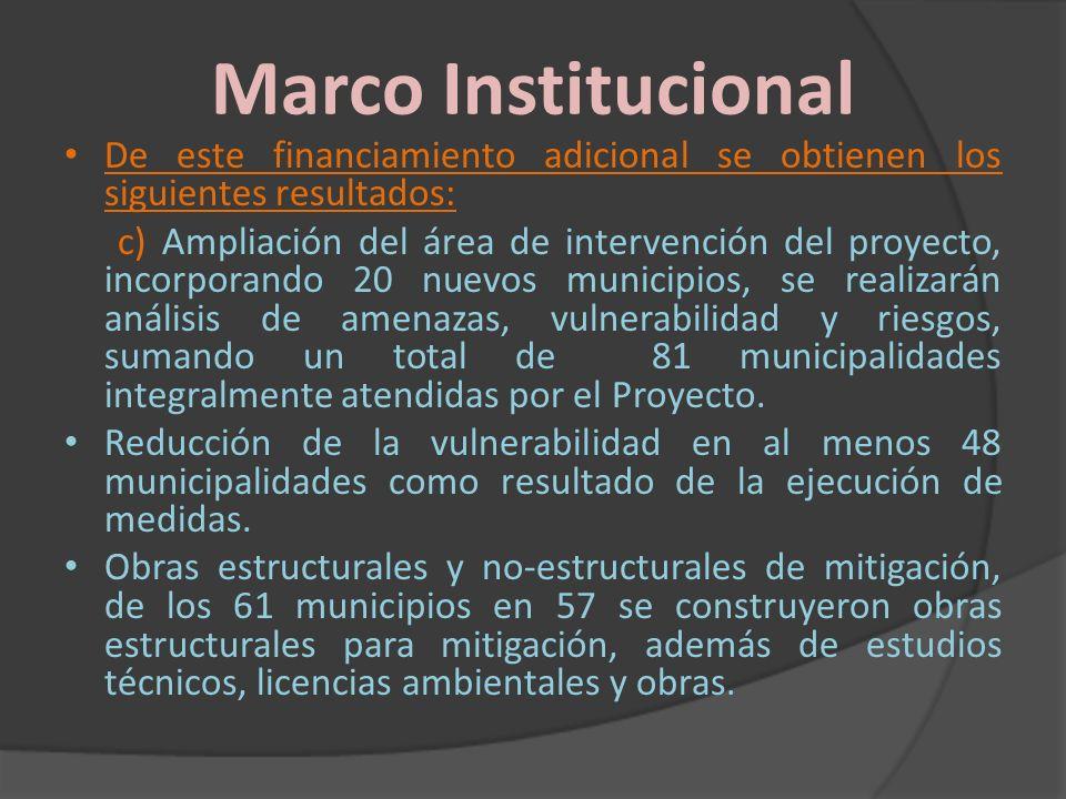 Marco Institucional De este financiamiento adicional se obtienen los siguientes resultados: c) Ampliación del área de intervención del proyecto, incor