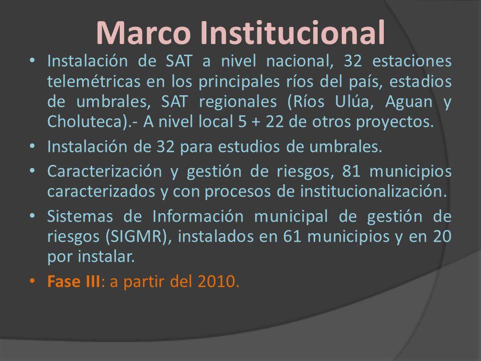 Marco Institucional Instalación de SAT a nivel nacional, 32 estaciones telemétricas en los principales ríos del país, estadios de umbrales, SAT region