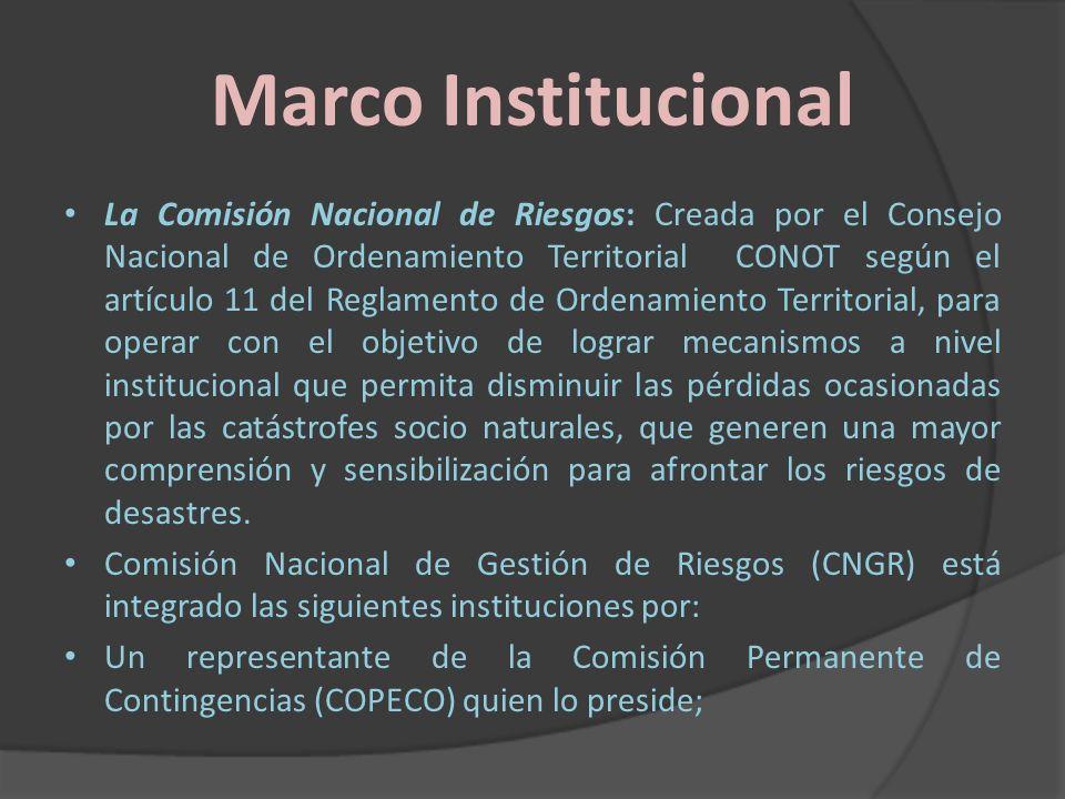 Marco Institucional La Comisión Nacional de Riesgos: Creada por el Consejo Nacional de Ordenamiento Territorial CONOT según el artículo 11 del Reglame