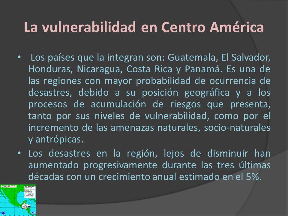 La vulnerabilidad en Centro América Los países que la integran son: Guatemala, El Salvador, Honduras, Nicaragua, Costa Rica y Panamá. Es una de las re