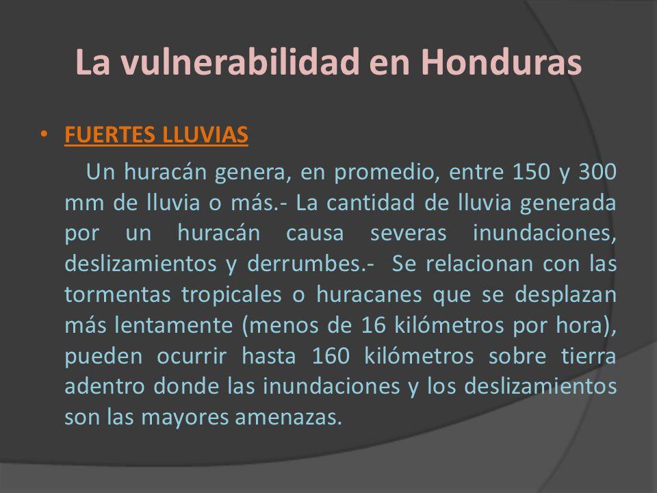 La vulnerabilidad en Honduras FUERTES LLUVIAS Un huracán genera, en promedio, entre 150 y 300 mm de lluvia o más.- La cantidad de lluvia generada por