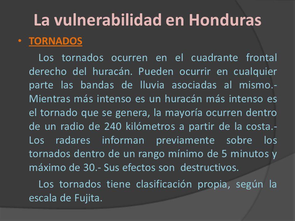 La vulnerabilidad en Honduras TORNADOS Los tornados ocurren en el cuadrante frontal derecho del huracán. Pueden ocurrir en cualquier parte las bandas