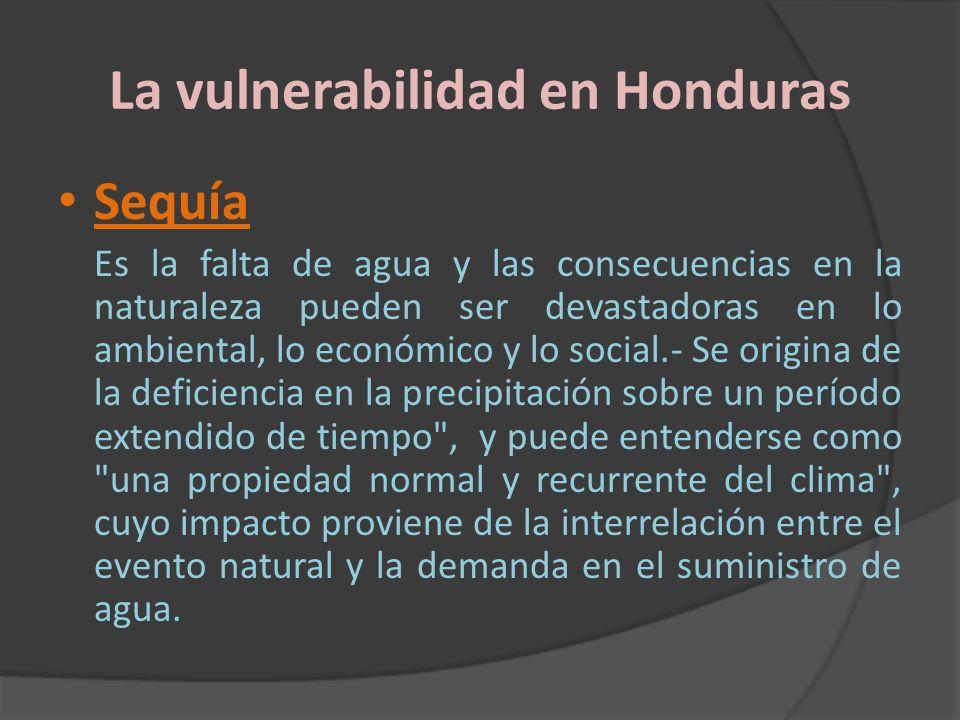La vulnerabilidad en Honduras Sequía Es la falta de agua y las consecuencias en la naturaleza pueden ser devastadoras en lo ambiental, lo económico y