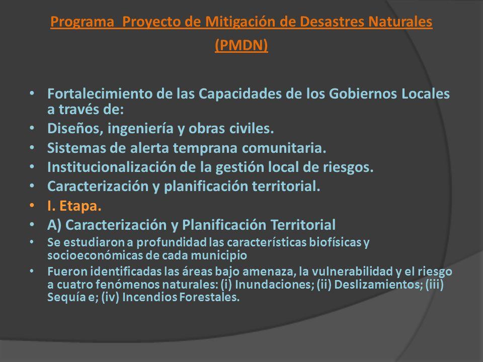 Programa Proyecto de Mitigación de Desastres Naturales (PMDN) Fortalecimiento de las Capacidades de los Gobiernos Locales a través de: Diseños, ingeni
