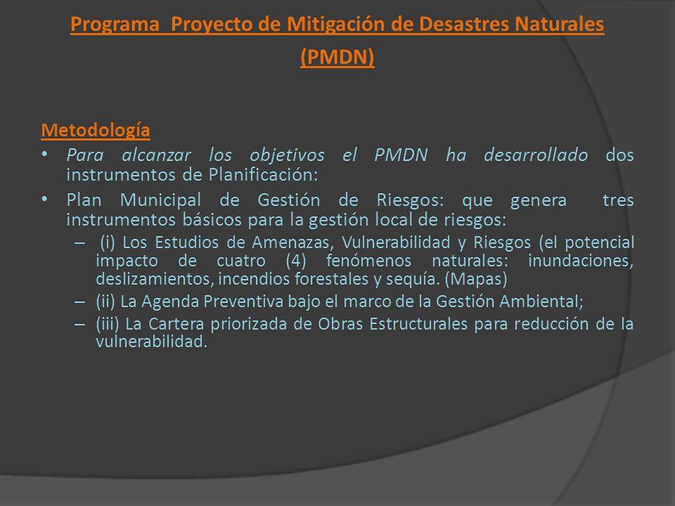 Programa Proyecto de Mitigación de Desastres Naturales (PMDN) Metodología Para alcanzar los objetivos el PMDN ha desarrollado dos instrumentos de Plan