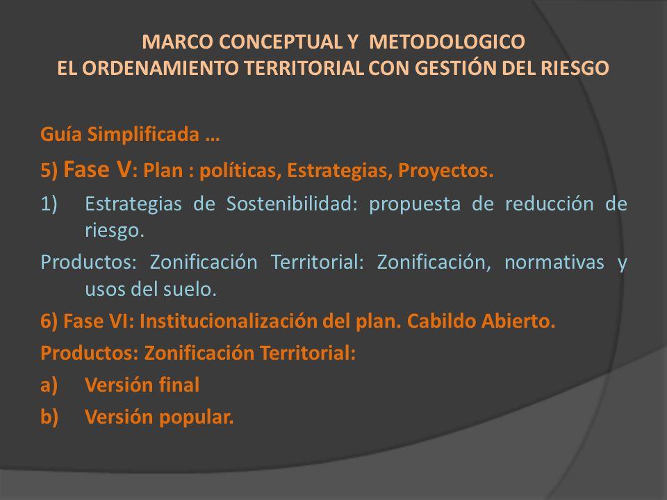 Guía Simplificada … 5) Fase V : Plan : políticas, Estrategias, Proyectos. 1)Estrategias de Sostenibilidad: propuesta de reducción de riesgo. Productos