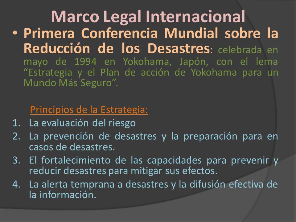 Marco Legal Internacional Primera Conferencia Mundial sobre la Reducción de los Desastres : celebrada en mayo de 1994 en Yokohama, Japón, con el lema
