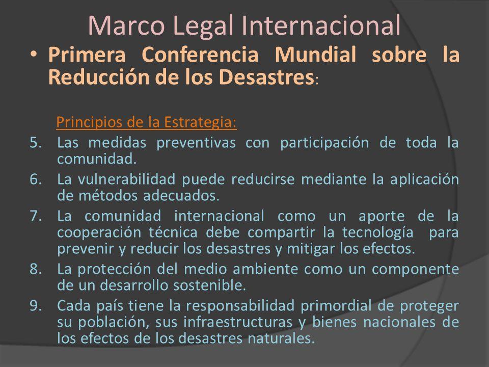 Marco Legal Internacional Primera Conferencia Mundial sobre la Reducción de los Desastres: Áreas temáticas: A.Gobernabilidad: Marcos institucionales y de Políticas para la Reducción de riesgos.