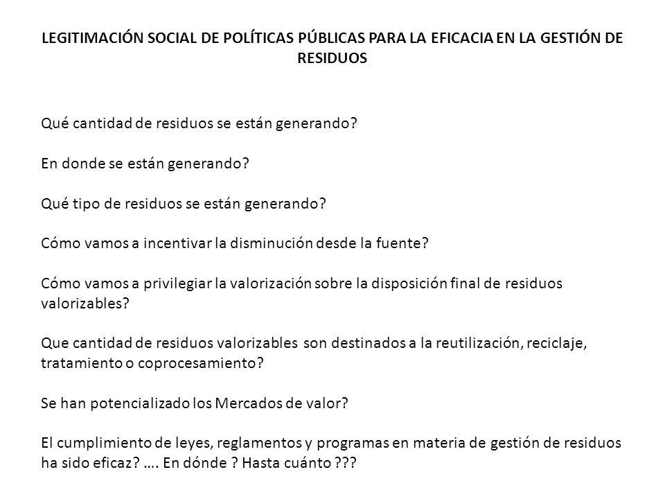 LA GESTIÓN DE RESIDUOS SE HA DADO HASTA EL MOMENTO SIN LA LEGITIMACIÓN SOCIAL DE POLÍTICAS PÚBLICAS AMBIENTALES Ha funcionado.