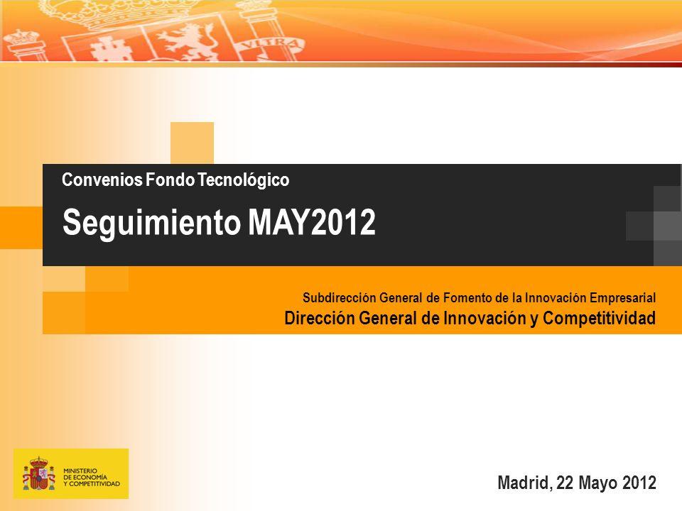 Madrid, 22 Mayo 2012 Convenios Fondo Tecnológico Seguimiento MAY2012 Subdirección General de Fomento de la Innovación Empresarial Dirección General de Innovación y Competitividad