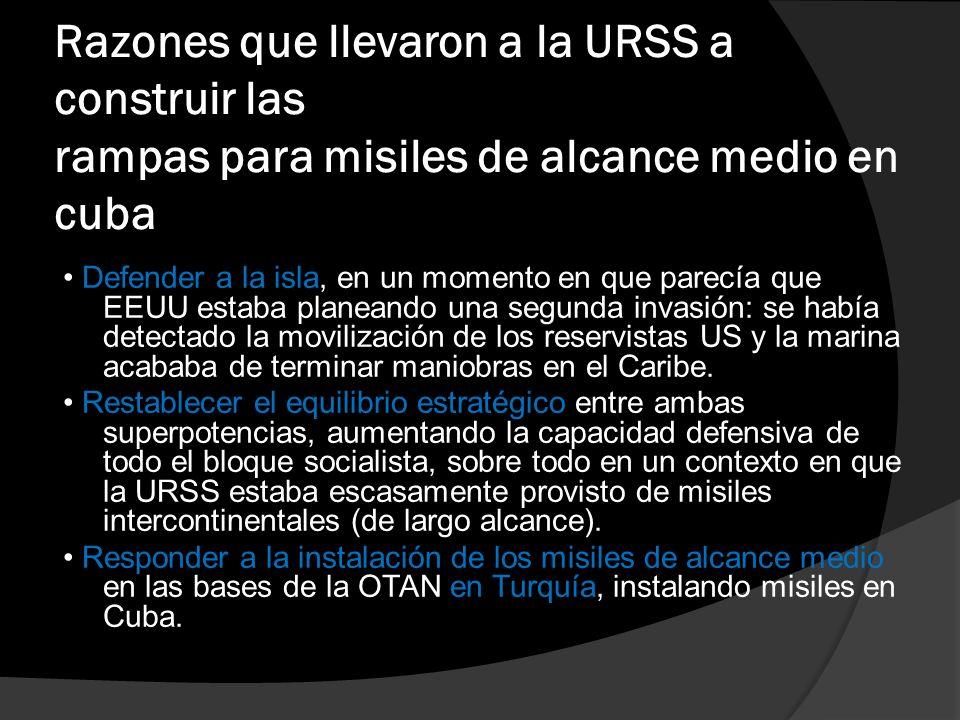 La crisis de los Misiles: Significado En sí misma, dura tan sólo trece días Marca un hito en la carrera armamentista entre ambos bloques.