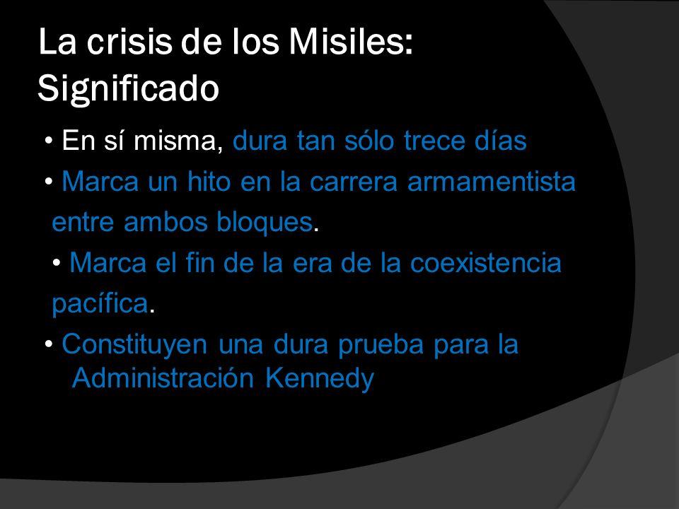 Significado de la instalación de los misiles en Cuba para los EEUU Sensación de vulnerabilidad del territorio nacional por la cercanía de los misiles enemigos, sobre todo como consecuencia de que se reduce el tiempo de respuesta a un ataque soviético al territorio nacional.