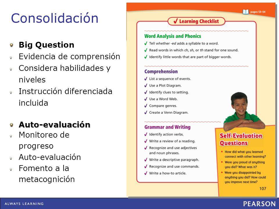 Consolidación Big Question Evidencia de comprensión Considera habilidades y niveles Instrucción diferenciada incluida Auto-evaluación Monitoreo de pro
