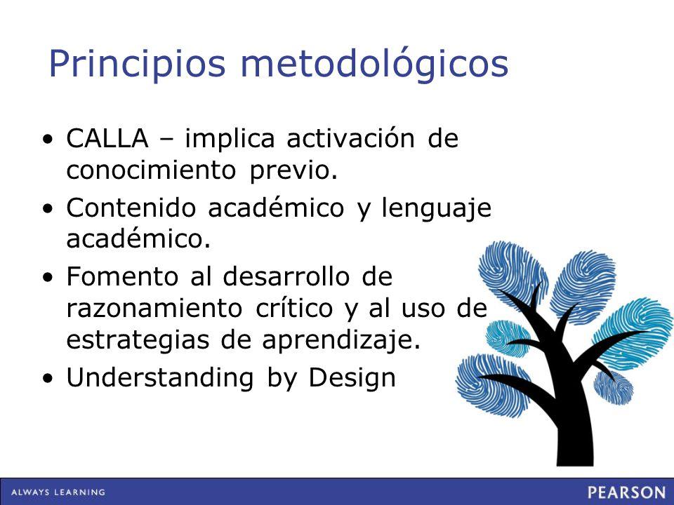 Principios metodológicos CALLA – implica activación de conocimiento previo. Contenido académico y lenguaje académico. Fomento al desarrollo de razonam
